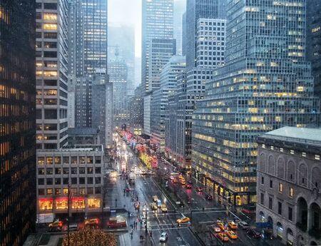 Manhattan landscape with residential and office buildings near Brooklyn bridge Foto de archivo