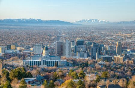 View of Salt Lake Valley from Ensign Peak in Utah, U.S.A.