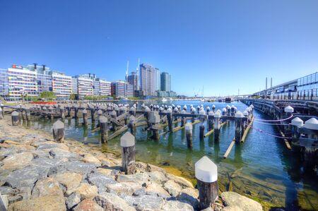 Docklands harbour skyscraper cityscape in Melbourne Australia