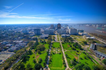 aerial of baton Rouge with Huey Long statue and famous skyline