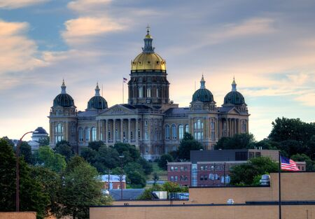 View of the Iowa State Capitol Building in Des Moines, Iowa.