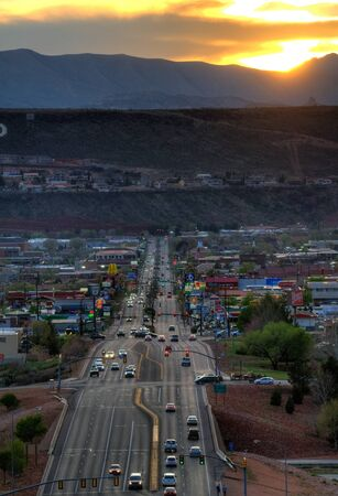 An overview of St George at sunset, Utah.