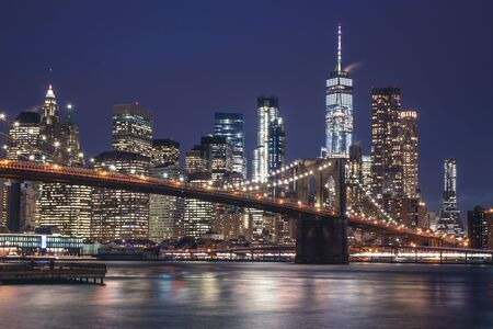 Views of the Brooklyn Bridge. Its a famous and iconic bridge in New York which passes the east river.