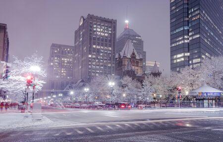 winter street scenery in Boston (Massachusetts USA)