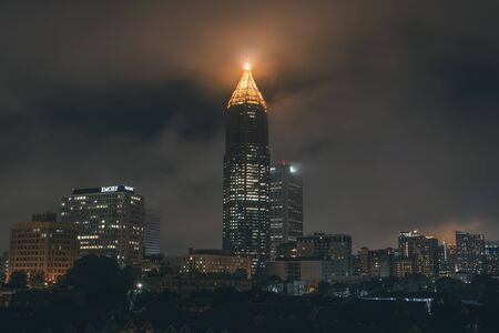 Skyscrapers at night in midtown Atlanta Georgia USA. Stock Photo