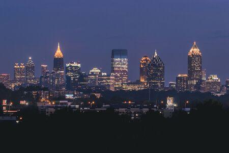 Skyscrapers at night in midtown Atlanta Georgia USA.