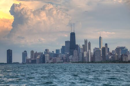 Lake Michigan with Chicago Skyline in Background on a stormy summer day