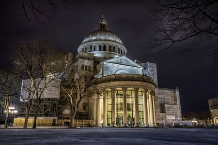 The First Church of Christ, Scientist at Christian Science Plaza at night in Boston, Massachusetts.