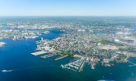 An aerial view of downtown Boston, Massachusetts on a clear summer day. Stock fotó
