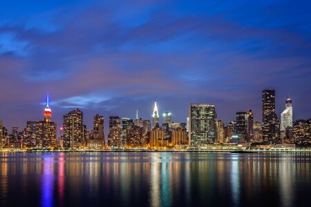New York City skyline view from Gantry Park Long Island City Queens. Stock Photo