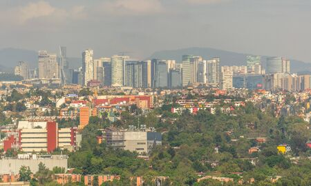Skyline in Mexico City, aerial view of the city. Business city Mexico 스톡 콘텐츠
