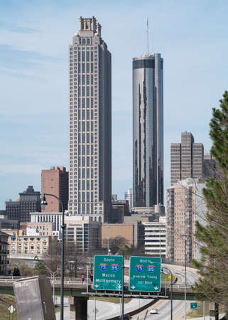Building of Westin Peachtree Plaza Hotel in Atlanta GA USA. With 220 m height it is one of tallest hotels all over the world. Editorial