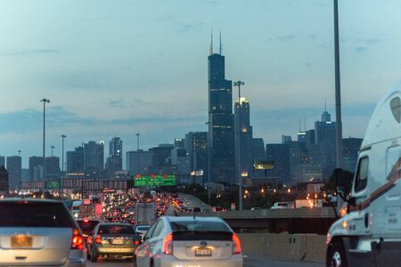 Dan Ryan Expressway heading to the South Side on June 13, 2019 in Chicago, Illinois. The Windy City is the third largest city in the U.S. and is a worldwide center of commerce.
