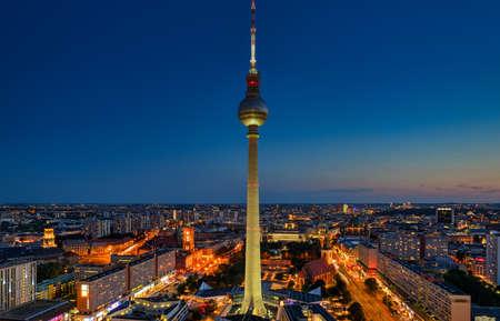 Berlin Skyline City Panorama with blue sky - famous landmark in Berlin, Germany, Europe