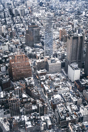 New York City. Wonderful panoramic aerial view of Manhattan Midtown Skyscrapers