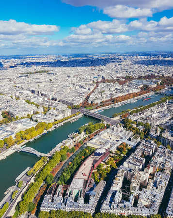 Aerial view of Paris from the Eiffel Tower. Panoramic view of the skyline over Paris. Roof landscape panorama