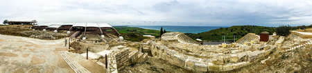 Kourion temple over sea, popular touristic attraction and landmark Banque d'images
