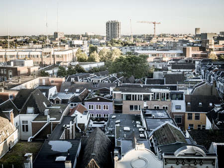 Aerial cityscape of medieval city Utrecht fourth city of the Netherlands