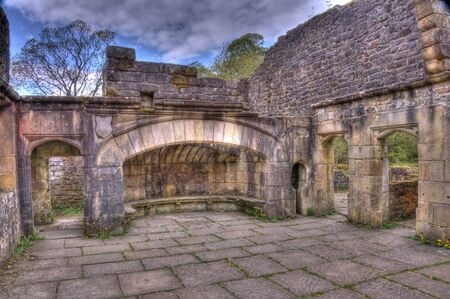 The fireplace of Wycoller, a late sixteenth century manor house in the village of Wycoller, Lancashire, England, now in ruins.