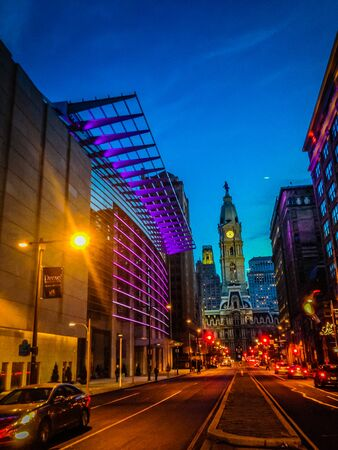 Long exposure of South Broad Street ( Avenue of Arts) facing City Hall in center city Philadelphia.