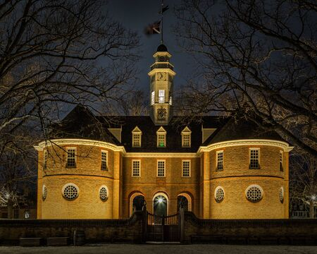 The Capitol Building in Colonial Williamsburg Virginia. The restored town is a major attraction for tourists and meetings of world leaders.