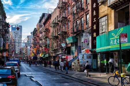 Street view of Chinatown district of New York City, one of oldest Chinatowns outside Asia. Stock fotó