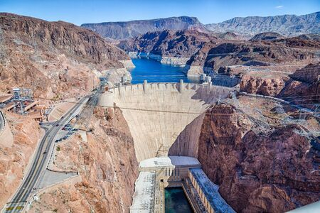 View of the Hoover Dam, a concrete gravitational arc dam, built in the Black Canyon on the Colorado River.