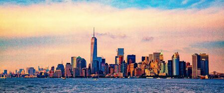 Banner of Lower Manhattan which is a apart of New york cityscape river side which can see One world trade center, USA, Taking from New Jersey