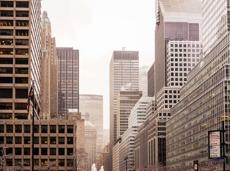 Typical Manhattan buildings background in NY with different building, condominiums and skyscrapers in New York, USA Editorial