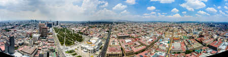 Historic center of Mexico City with CBD skyline on Avenue Paseo de la Reforma aerial view at Zocalo, Mexico City CDMX, Mexico. Historic center of Mexico City is a UNESCO World Heritage Site. 新闻类图片