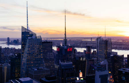 New York City Manhattan midtown aerial panorama view Editorial
