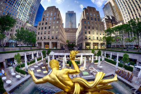 The golden Prometheus statue at the Rockefeller center