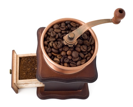coffee mill with open box top view photo