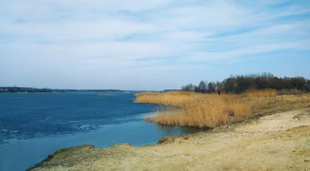 lake blue reeds blue sky beach sand nature landscape