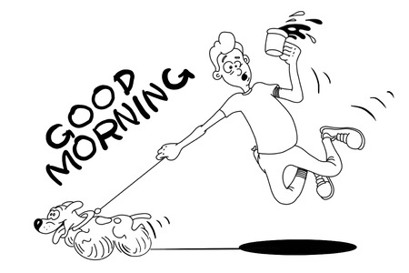morning walk: funny cartoon guy who drinks coffee in the morning and walking with his dog on a white background