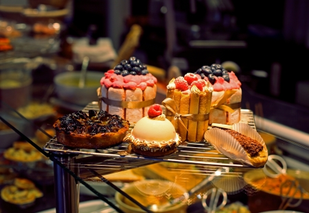 french bakery: cakes and sweets in a shop window