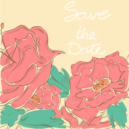 Greeting card in retro style with flowers, save the date. Vector illustration. colored sketch Vector
