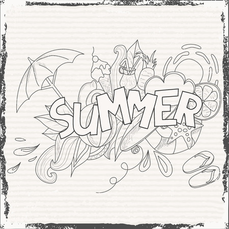 Summer theme hand lettering and doodles elements background. Vector illustration Vector
