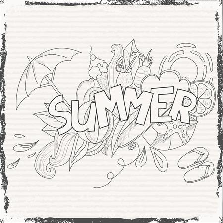 夏天题材手字法和乱画元素背景。矢量图