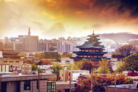 Seoul city view, urban landscape at sunset