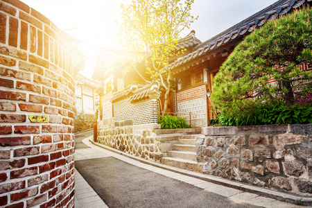Bukchon Hanok historic district in Seoul at sunset, South Korea.