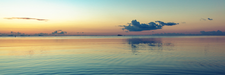 Summer vacation concept. Paradise beach. Panoramic view. Minimalistic landscape golden sunset