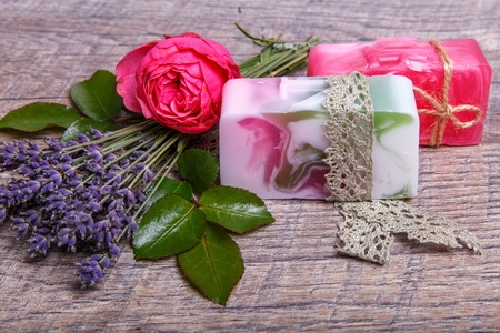 Handmade Soap with bath and spa accessories. Dried lavender and nostalgic pink rose