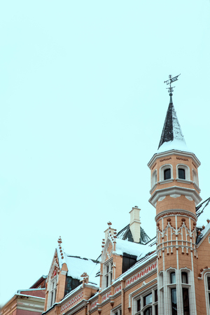 Riga, Latvia. The old town of Riga. Facade in the Gothic style winter