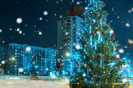 City christmas illuminations, Christmas night tree. Latvia