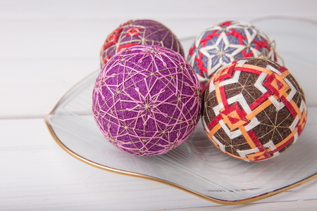 Temari balls, a handicraft ball in traditional Japanese style.
