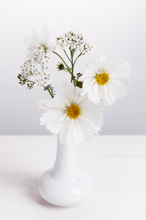 A bouquet of white flowers cosmea on white boards. Copy space. Mothers, Valentines, Womens, Wedding Day concept.