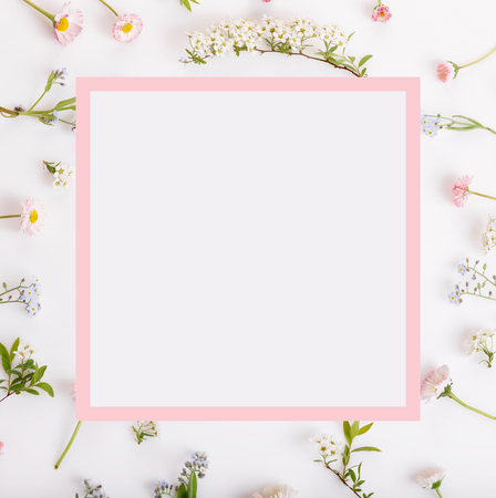 Pink flowers frame on white background. Stock Photo