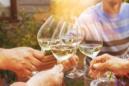 Family of different ages people cheerfully celebrate outdoors with glasses of white wine, proclaim toast People having dinner in a home garden in summer sunlight. Stock Photo