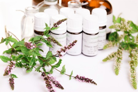 Homeopathy - A homeopathy concept with homeopathic medicine Stock Photo